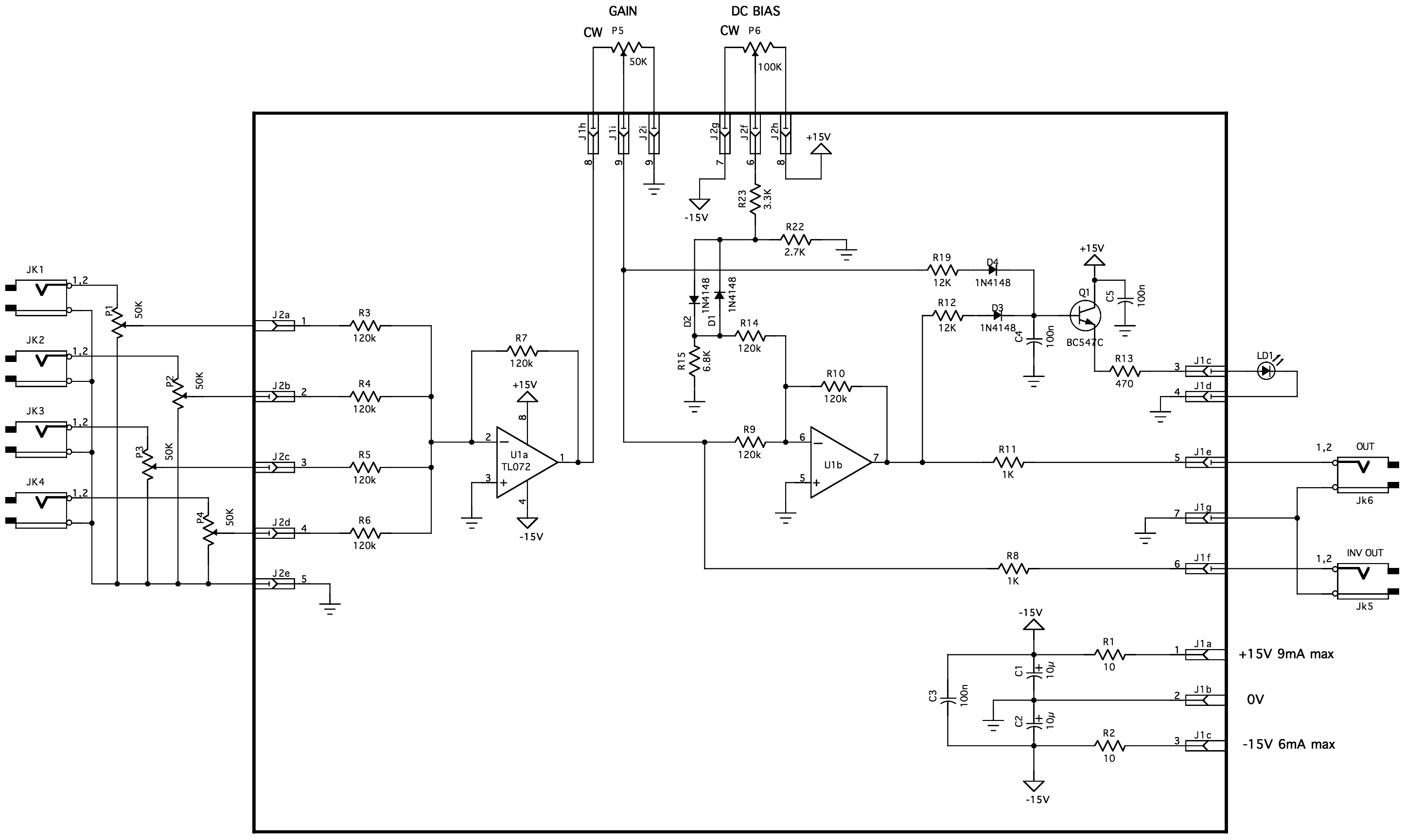 Mixer 1u Basic Circuit This Is Based On Very Building Blocks U1a A Summer Inverter That Sums Up The Input Signals U2a Acts As Simple